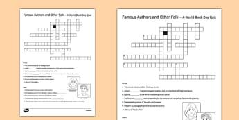 Famous Author Crossword - famous author, crossword, famous, author, activity