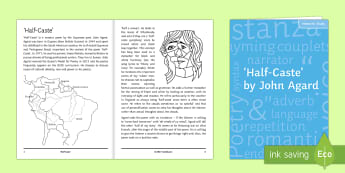 'Half-Caste' by John Agard Notes for Study  - Half-Caste, GCSE poetry, poetry revision, John Agard, John Agard poetry, Edexcel, OCR