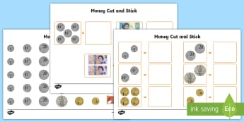 Money Cut and Stick Activity Sheet - maths, australia, money, coins, coin, note, bank note, australian money, ACMNA017, ACMNA034,Australi