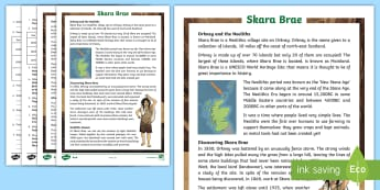 CfE Second Level Skara Brae Differentiated Reading Comprehension Activity - Orkney, Island, World, Heritage, Neolithic, Settlement, UNESCO, Preservation,