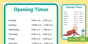 Pediatrician Opening Times Role Play Display Poster - pediatrician, role-play, opening times, display, poster, pretend, hospital, nurse, doctor, bulletin