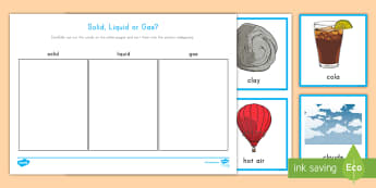 Solids, Liquids, Gases Sorting Activity - science, sorting, solids, liquids, gases, matter,