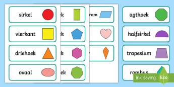 2D Vorms Woordkaarte  - wiskunde, gesyferdheid, vierkant, driehoek, sirkel, reghoek