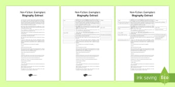 Biography Exemplar Resource Pack - General Secondary English Resources, non-fiction texts, exemplars, biography.