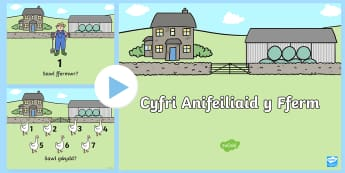 Cyfri Anifeiliaid Pŵerbwynt - buwch, ceffyl, gafr, gwydd, mochyn, iar, fferm, cyfri, counting, count, cyfrwch, goats, pigs, sheep,