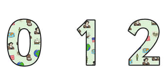 Christopher Columbus Themed A4 Display Numbers - christopher columbus,  display numbers, themed number, classroom number, numbers for display, a4 numbers