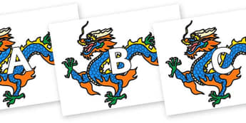 A-Z Alphabet on Chinese Dragons - A-Z, A4, display, Alphabet frieze, Display letters, Letter posters, A-Z letters, Alphabet flashcards