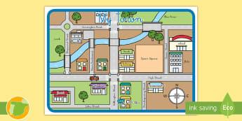 Mapa: Mi ciudad en inglés - dar direcciones, mapa, my town, mu ciudad,