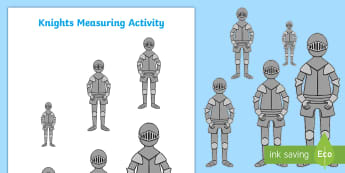 Knights Measuring Activity - Knight, Soldier, Maths, Mathematics, Measure, Shape, Space and Measure, Height.