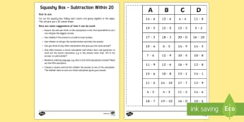 Squashy Boxes Subtraction Within 20 Craft - Mental Maths Warm Up + Revision - Northern Ireland, squashy boxes, subtraction within 20, odd and ev