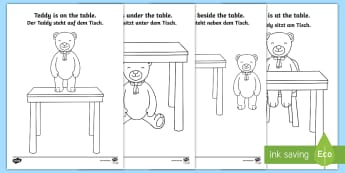Teddy Bear Prepositions Colouring Pages English/German - Preposition, Grammar, vocabulary, German, English-German, EAL, ,German-translation