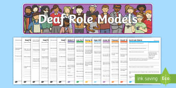 Deaf Role Models Research Worksheet / Activity Sheets Resource Pack - Deaf, Identity, culture, community, British Sign Language, BSL, hearing impaired, ICT, deaf science,