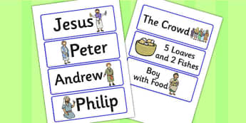 Jesus Feeds the 5000 Bible Story Word Cards - words, visual