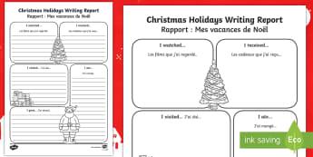 Christmas Holiday Writing Template English/French - christmas, christmas holiday, writing report, writing, report, holiday report, christmas report, wri