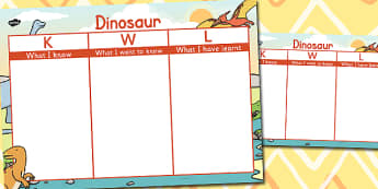 Dinosaur Topic KWL Grid - dinosaur, kwl, grid, know, learn, want