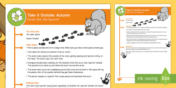 EYFS Take it Outside: Autumn: Nut, Nut, Squirrel Game - Little Acorns, Twinkl originals, fiction, Outdoor and Woodland Learning, Wonder Investigate Learn Di