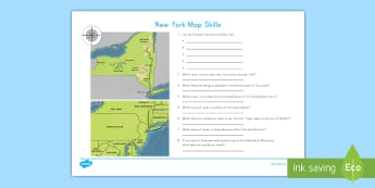 New York Map Skills Activity Sheet - New York, Hudson River, New York City, Catskills Mountains, Adirondack Mountains, Lake Erie, Lake On