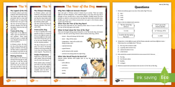 LKS2 The Year of the Dog Differentiated Reading Comprehension Activity - Chinese new year, Dragons in the City, retrival, vocabulary, inference, content domains, understandi