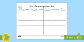 Registro de objetivos personales - Registro, comportamiento, objetivo, personal, Spanish