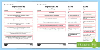 CfE Expressive Arts (Art and Design) Second Level Child Friendly Tracking-Scottish - Child Friendly Tracking CfE, tracker, EXA, curriculum for excellence, 2nd level, progression, I can,