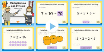 Year 2 Multiplication and Division Maths Warm-Up PowerPoint - KS1 Maths Warm Up Powerpoints, warm-up, warm up, warm-ups, warm ups, maths, numeracy, number, multip