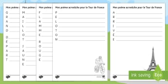 Tour de France Acrostic Poem French - writing, hobbies, cycling, creative, poems, leisure, passe-temps, les loisirs,French