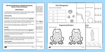 CfE Early Level Numeracy and Maths Assessment Number Adult Guidance Pack - planning, tracking, support, advice, tracking, progress, scotland, scottish