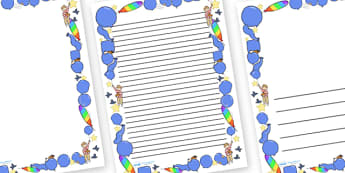 Page Borders to Support Teaching on The Blue Balloon - blue balloon, story, the blue balloon, Mick Inkpen, page border, border, writing template, writing aid, writing aid, flying balloon, soggy balloon, up, story book, story resources