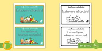 * NEW * Letreros: Cafetería saludable  - alimentación, nutrición, pirámide alimenticia, comida, alimentos, primaria, niños, profesores, c
