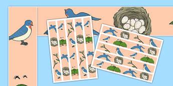 Swallow Display Borders - class, set-up, room name, birds, swallow, animals, ks1, ks2, display,