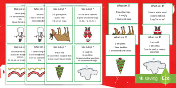 What Am I Christmas Guessing Game English/French - SLCN, receptive delay, expressive delay, Christmas, inferencing , inference, guess, what am I, EAL f