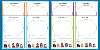 'Talk About' Editable Notes - Early Years, Transition, Home School Links, Starting School, Teacher Notes, Letter Home, Home Visit,