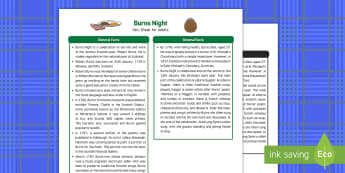 Burns Night Fact Sheet for Adults - EYFS, Early Years, KS1, Key Stage 1, Scotland, Robert Burns, Burns Supper, haggis, Auld Lang Syne, January, festival, celebration