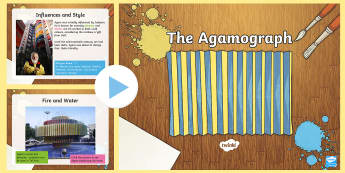 KS2 Agamograph Information PowerPoint - optical illusion, artists, Agam, sculpture, abstract art