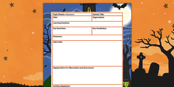 Halloween Themed Adult Led Focus Planning Template - autumn, plan