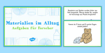 Materialien im Alltag Aufgaben für Forscher - german, everyday, materials, challenge cards