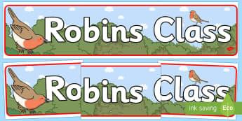 Robins Class Display Banner - robins, class, display banner, display