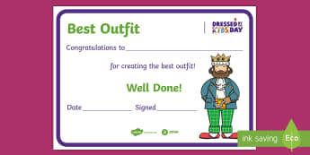 Dressed by the Kids Day Best Outfit Certificate - oxfam, events, fancy dress, best dressed, dressing up, award, winner