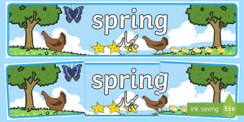 Spring Display Banner English/Urdu - Spring Display Banner - Spring, Display banner, poster, display, lambs, daffodils, new life, flowers