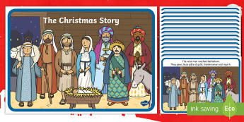 The Christmas Story -  Nativity, Christmas Story, xmas, Visual Aids, Mary, Joseph, Jesus, shepherd, wise men, Herod, angel, donkey, stable, Gabriel, First Christmas,Inn, Star, God
