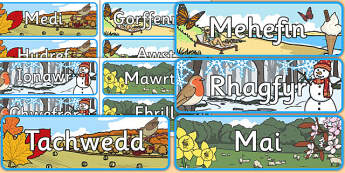 Months of the Year With Seasons Theme Display Posters Cymraeg - cymraeg, months, year, seasons, display, posters