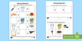 Mixing Materials Activity Sheet - ACSSU031, combing materials, science cut and paste,Australia, worksheet