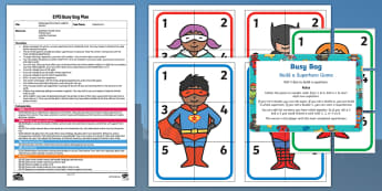 EYFS Build a Superhero Game Addition Version Busy Bag Plan and Resource Pack - Superheroes, superhero, number, adding, addition, dice, superman, spiderman, batman