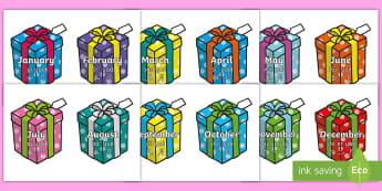 Months of the Year on Birthday Presents Display Sign English/Mandarin Chinese/Pinyin - Months of the Year on Birthday Presents - Months poster, Months display, Months of the year, birthda