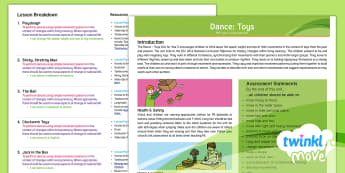 Twinkl Move - Year 2 Dance: Toys Overview - Move, KS1, Key Stage 1, Year 2, Y2, PE, Physical Education, Sport, Dance, Exercise, Unit Overview