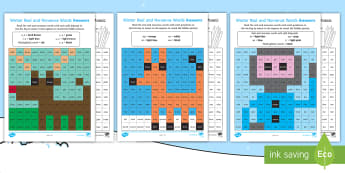 Winter Phase 5 Phonics Mosaic Activity Sheets -  phoneme, decode, pattern, nonsense, Fluency, worksheets