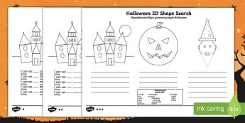 Halloween 2d shape search worksheet / activity sheet English/Polish Translation