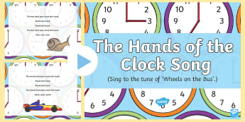 The Hands on the Clock Song PowerPoint - clock, watch. time, hands, second hand, minute hand, hour hand, vocabulary, early maths