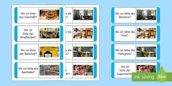 In and Around Town Loop Cards - German, places, town, mfl, deutsch, in and around, town, city, home, location, local, places, visit,