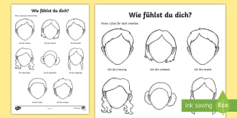 Emotions and Feelings Activity Sheet German - Emotions, feelings, How are you, German, All about me, MFL, Languages, worksheet